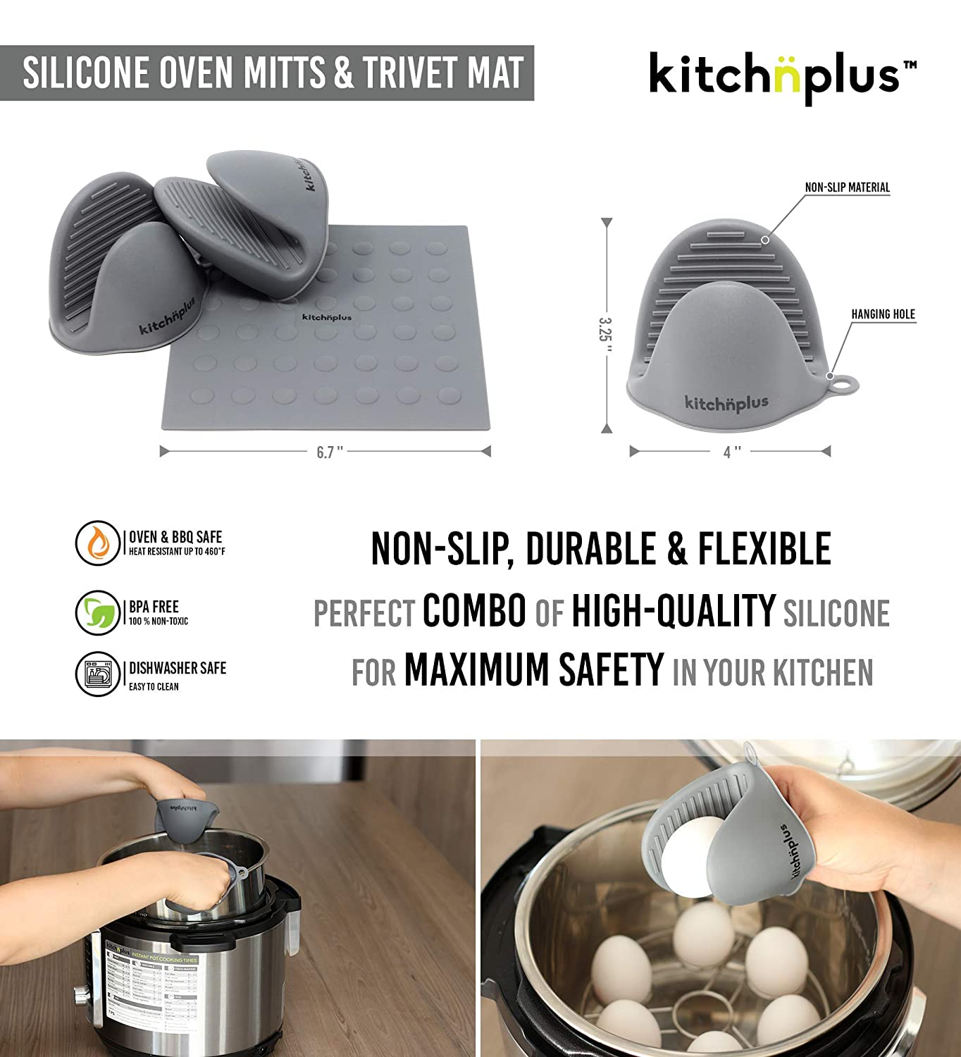 Cheat Sheet Magnet Oven Mitts//Mat Egg Bites Mold Egg Rack Instant Pot Accessories Set 10 pieces Springform Pan Fits Pressure Cooker 6 to 8 Qt Recipes Booklet by Kitchnplus Steamer Basket