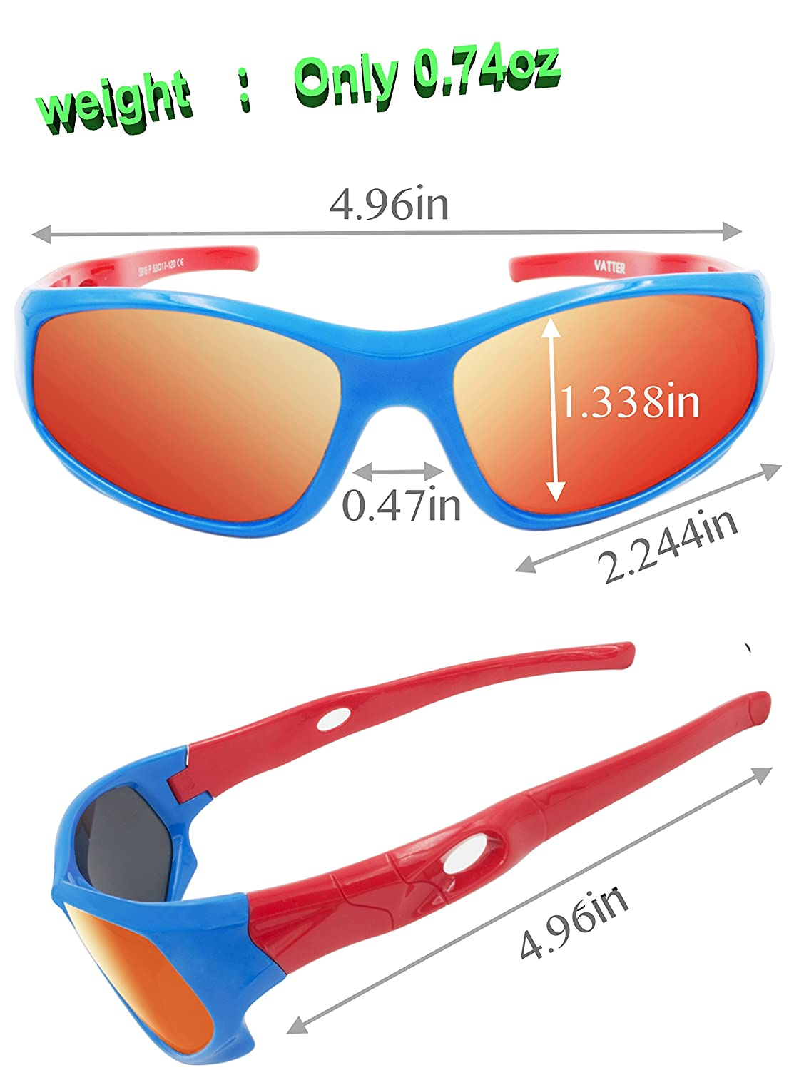 VATTER TR90 Unbreakable Polarized Sport Sunglasses For Kids Boys Girls Youth /…