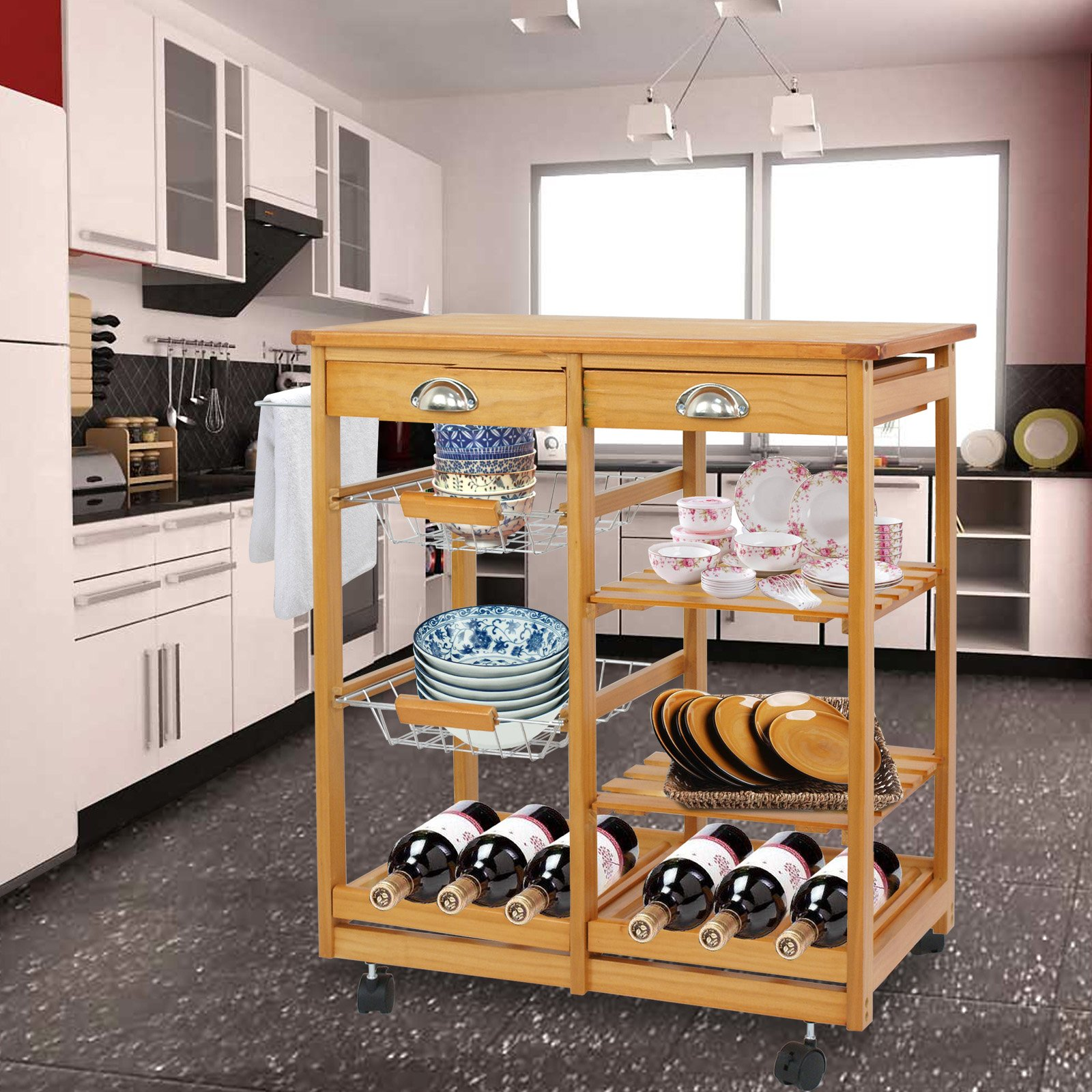 SUPER DEAL Multi-Purpose Wood Rolling Kitchen Island Trolley w/Drawer Shelves Basket by SUPER DEAL (Image #9)