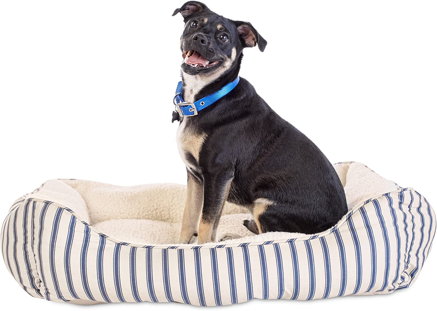 HARMONY Blue Striped Nester Dog Bed