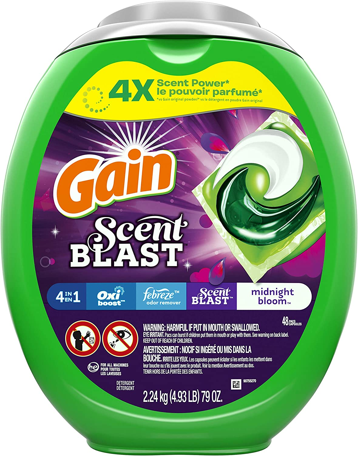 Gain Flings! Scent Blast Liquid Laundry Detergent pacs Designed for Large Loads, Midnight Bloom, 48 Count