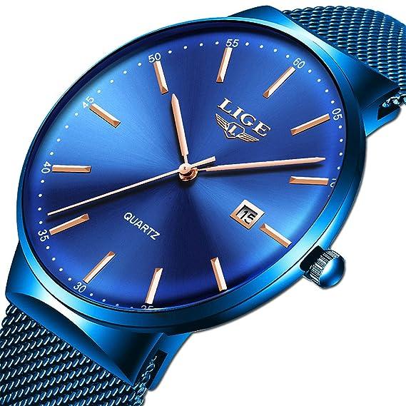 LIGE Relojes Hombre Moda Azul Acero Inoxidable Automático Fecha Relojes Hombre Impermeable Deportes Analógico Cuarzo Relojes