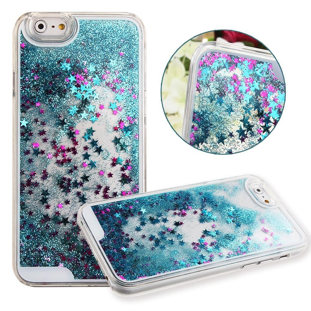 amazon com gravydeals for iphone 6 plus case,6s plus [5 5 inchgravydeals for iphone 6 plus case,6s plus [5 5 inch] cover, fashion anti crystal clear flowing sparkle glitter liquid sand quicksand protective hard back