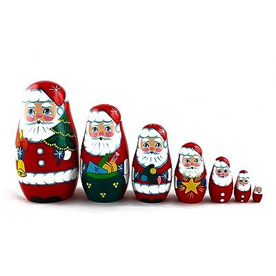 Matryoshka Russian Nesting Doll Babushka Beautiful Santa Claus Set 7 Pieces Pcs Wooden Hand Painted Souvenir Craft Gift: Toys & Games