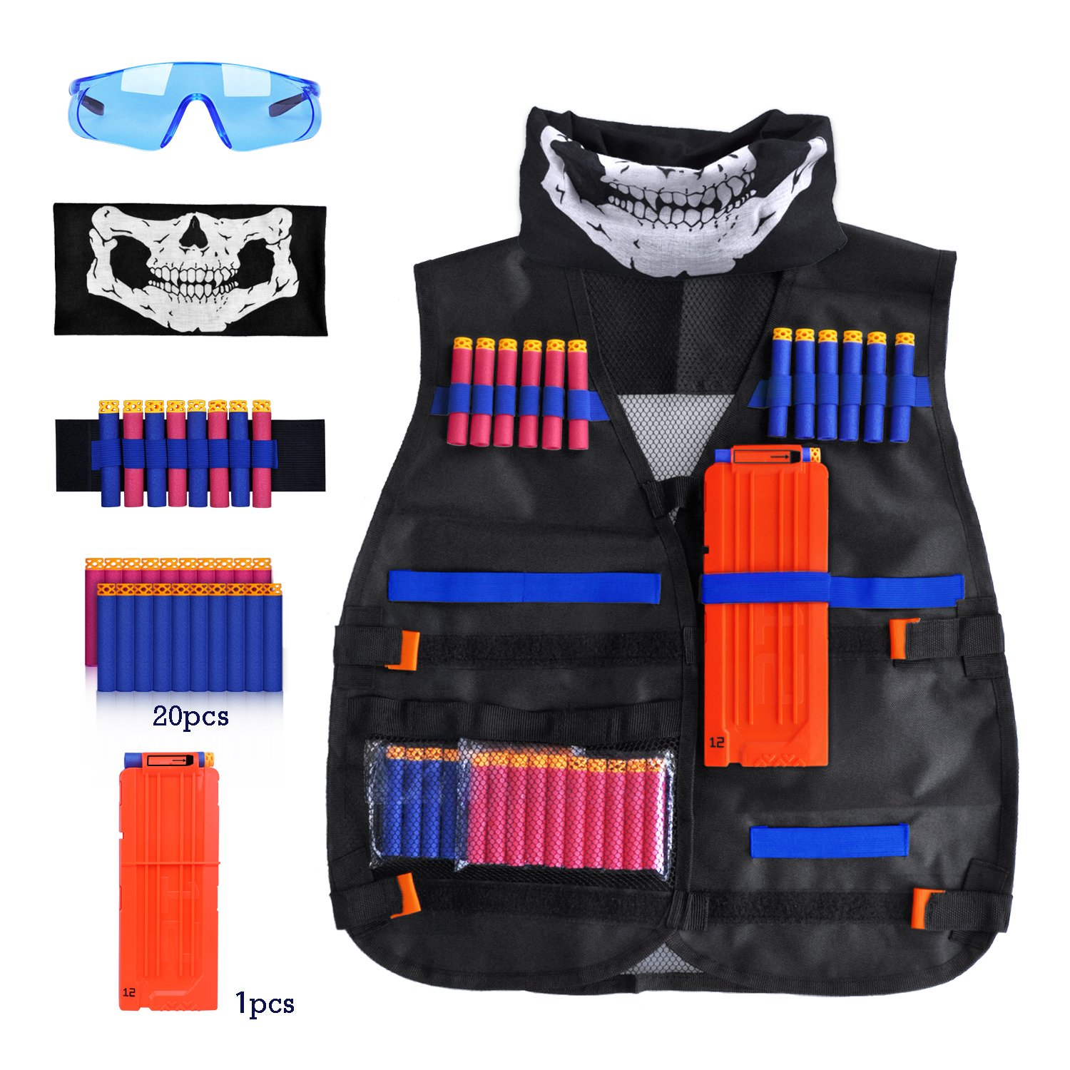 Kids Tactical Vest Kit Compatible with Nerf Guns N-Strike Elite Series, with 20 Pcs Refill Darts, 1 Reload Clips, Face Tube Mask, 1 Hand Wrist Band and Protective Glasses