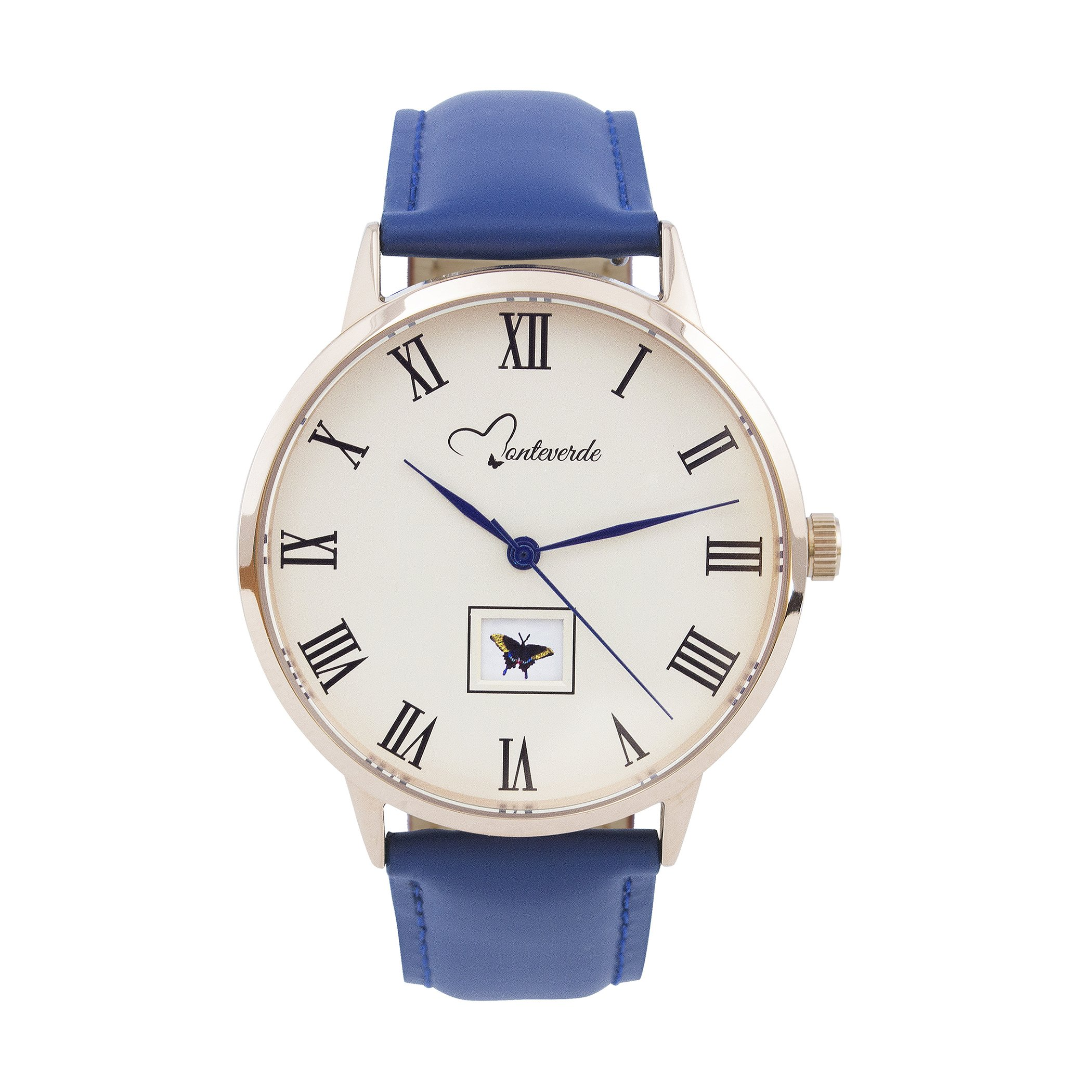 Monteverde Unisex Watch - Natura Collection -Butterfly edition - 38mm Rose Gold Stainless Steel case with genuine blue leather strap - Enjoy a new Butterfly every morning as a gift from nature.