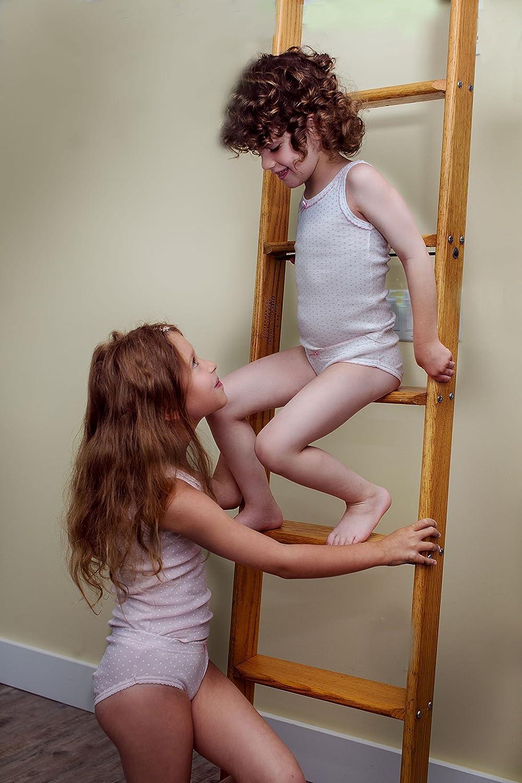 3 PK Tagless Cotton Tank Tops-Pink//White Amoureux Bebe Girls Cami Undershirts