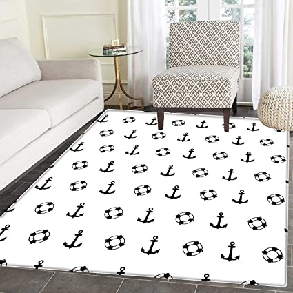 Amazon Com Nautical Rugs For Bedroom Maritime Theme Objects Anchors