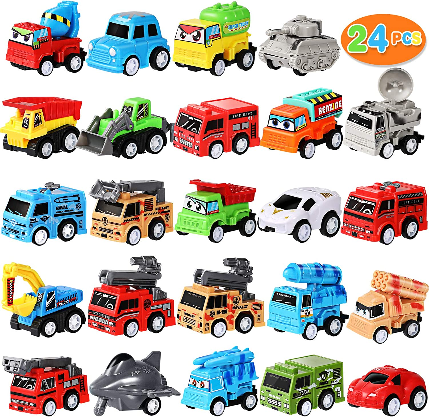 MGparty 24 Pieces Mini Pull Back City Cars and Trucks Toy Vehicles Set for Kids Children Party Favors Birthday Game Supplies