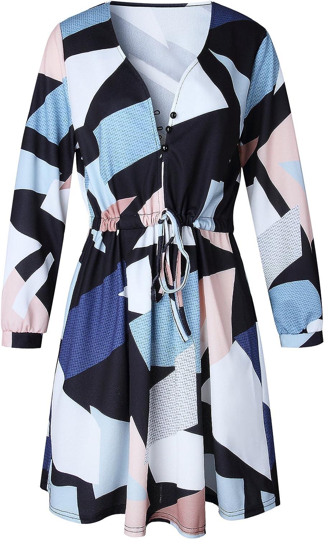 ECOWISH Vestido de verano casual con cuello en V estampado floral geom/étrico con cintur/ón