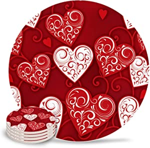 Happy Valentines Day Love Absorbent Ceramic Coasters for Drinks 4