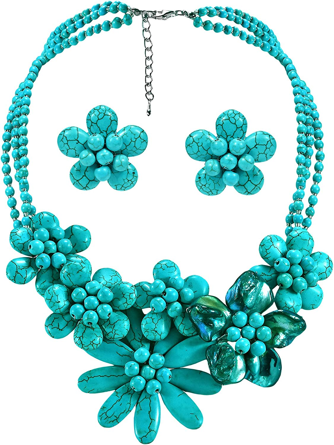 AeraVida Brilliant in Simulated Turquoise /& Mother of Pearl Floral Jewelry Set