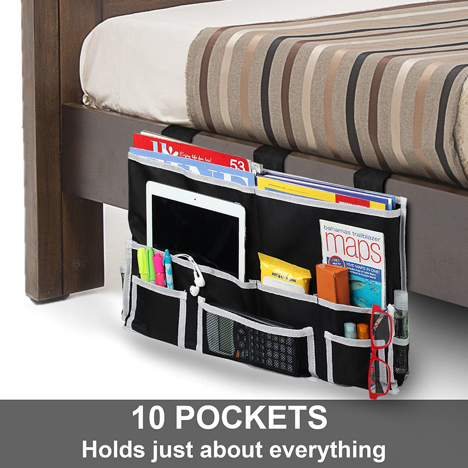 Dorm Room Ideas - If you don't have room for a nightstand, use a bedside caddy to keep your important items close at hand.