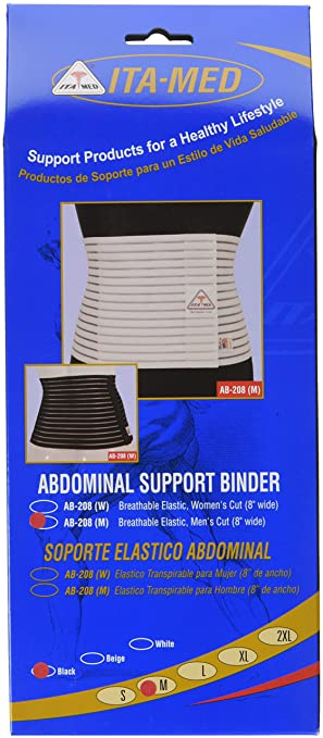 ITA-MED Breathable Abdominal Light Support Binder for Men, Black, Medium