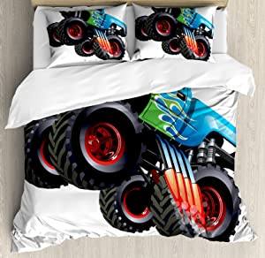 Ambesonne Cars Duvet Cover Set, Cartoon Monster Truck Cool Vehicle Modified to The Perfection Colorful Design, Decorative 3 Piece Bedding Set with 2 Pillow Shams, Queen Size, Aqua Black