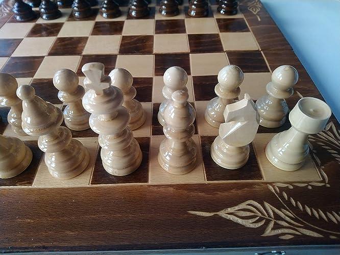 Juego de ajedrez de madera marron, backgammon, damas, 44x44 cm caja de tablero