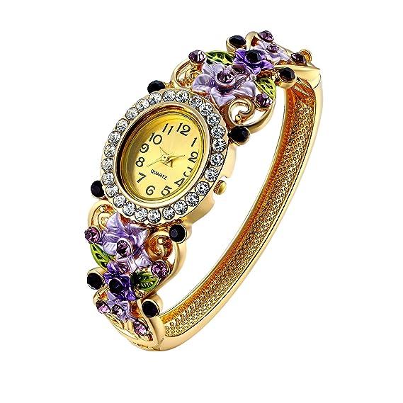 Oven Moda® Reloj de Cuarzo de Pulsera Brazalete de Cristal para Mujer Oro Plateado Flor