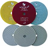 "Stadea PPH101S 4"" Diamond Polishing Pads Three 3-Step Set Wet Dry Pads For Granite Quartz Polishing"