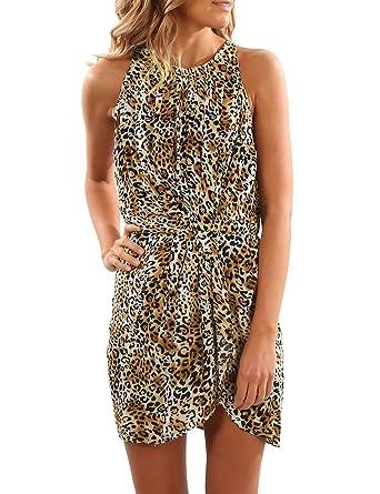 Blooming Jelly Damen Kleid Leopard Printing Scoop Neck Ruched Halter ...