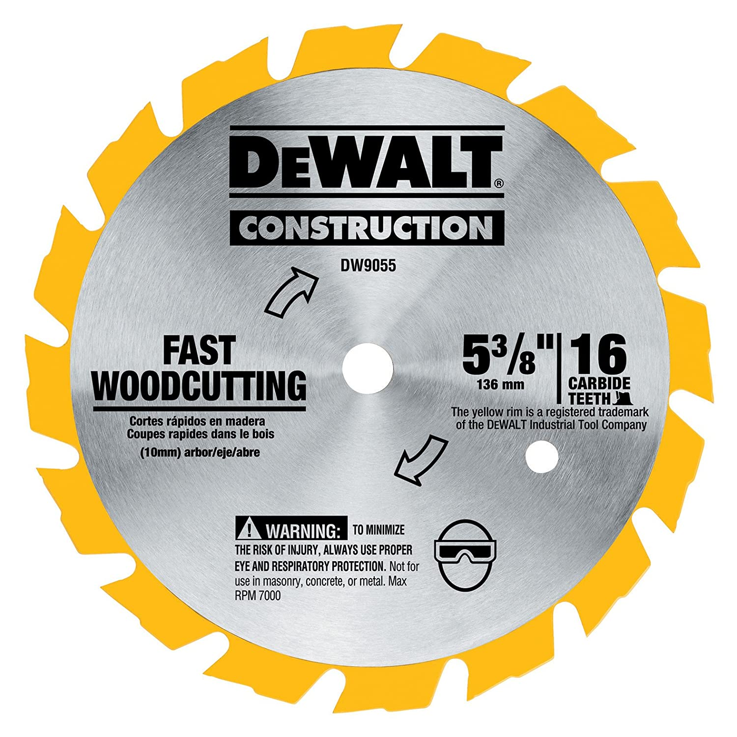 DEWALT DW9055 5-3/8-Inch 16 Tooth Series Arbor Carbide Circular Saw Blade