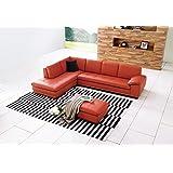 J and M Furniture 175443111-LHFC-PK 625 Italian Leather Sectional Pumpkin