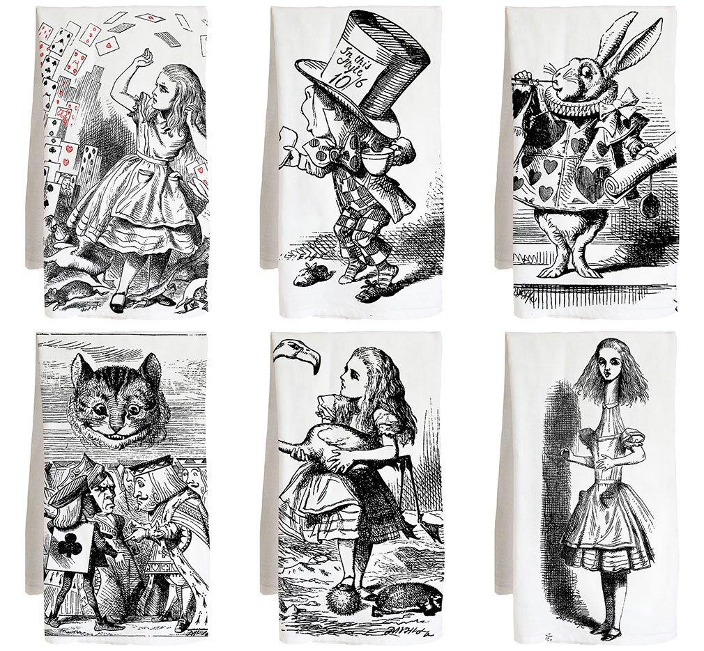 Live Nice Alices Adventures - Alice Wonderland - Farm Flour Sack Kitchen Tea Towel