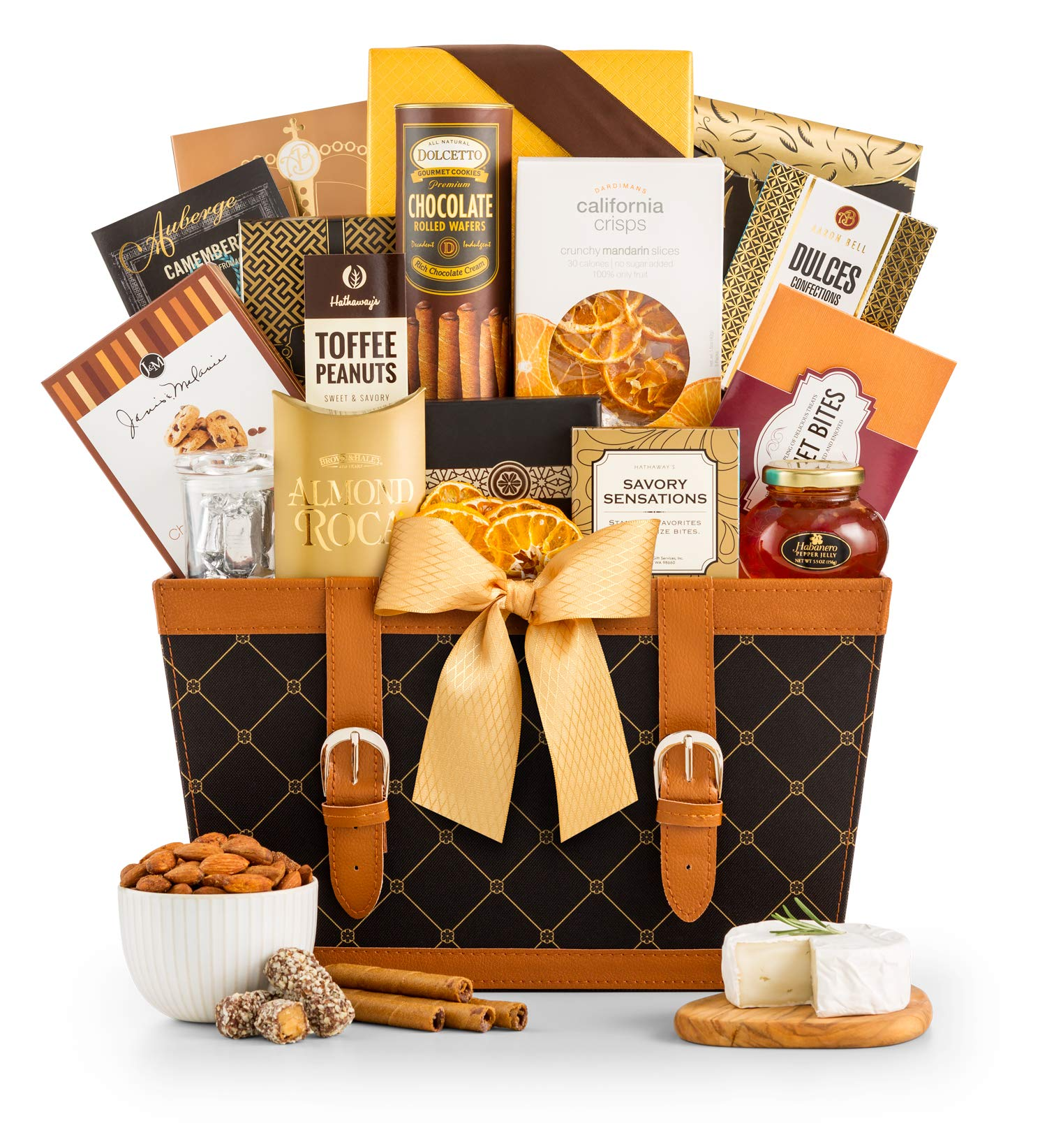 GiftTree Golden Gourmet Gift Basket | Enjoy Caramel Stroopwafel, Chocolate Chip Cookies, Honey Roasted Peanuts, White Cheddar Popcorn, Peanut Brittle & More | Birthday, Thank You, Sympathy Gift by GiftTree (Image #1)