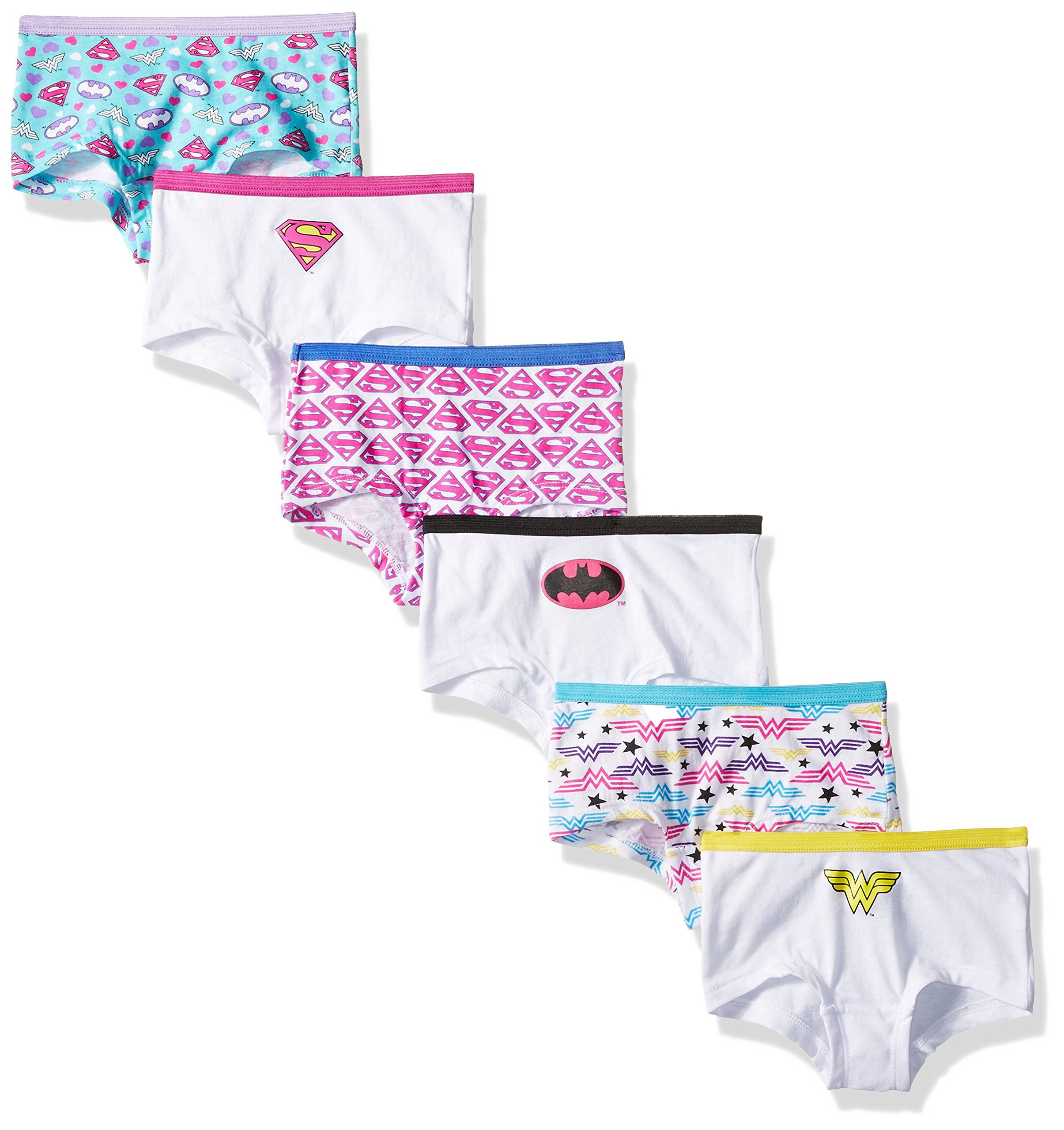 DC Comics Girls' Justice League Logo 6pk Girlshorts Panty