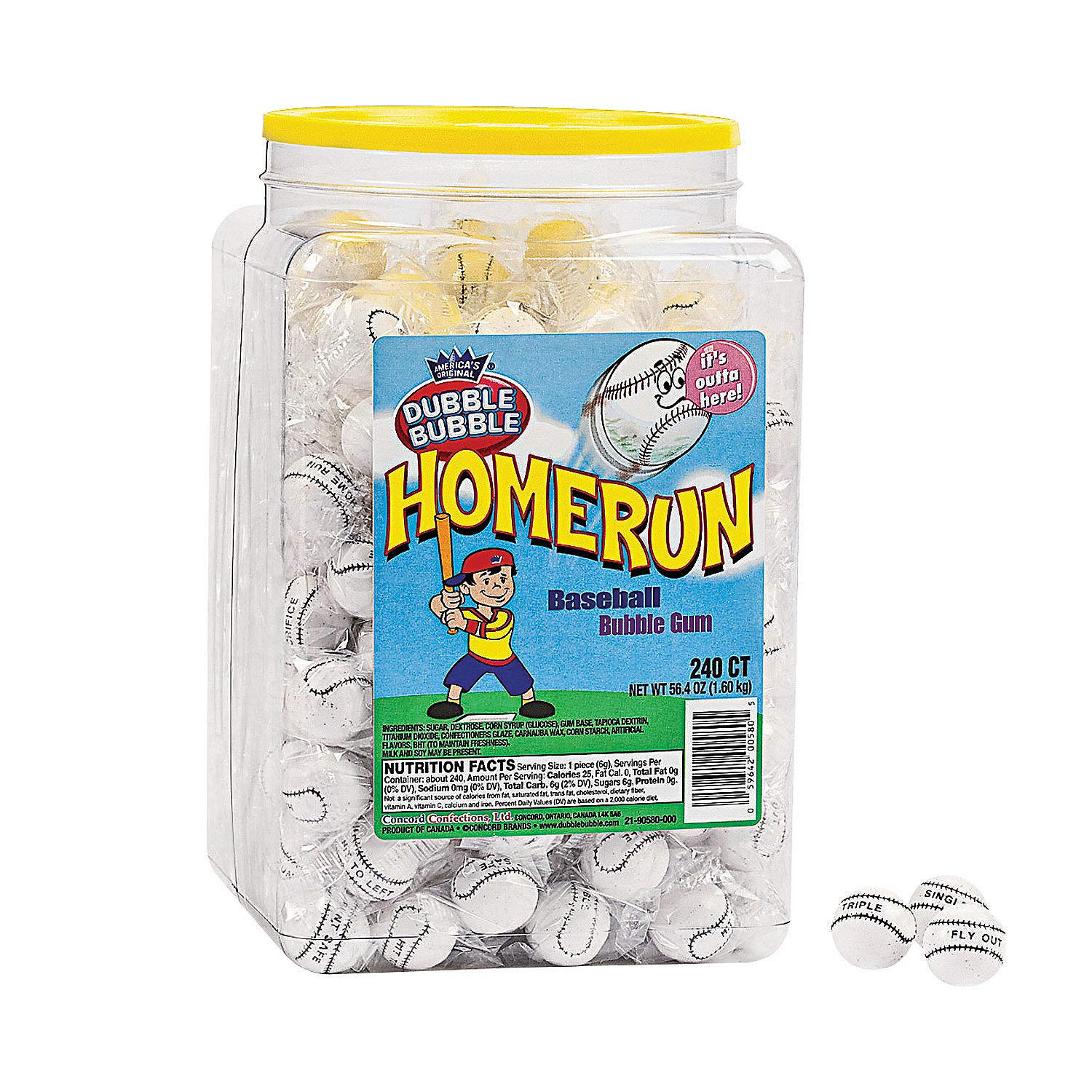 Dubble Bubble Homerun Gumballs - 240 Individually Wrapped