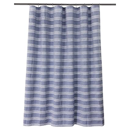 Image Unavailable Not Available For Color Chambray Stripe Shower Curtain Blue White