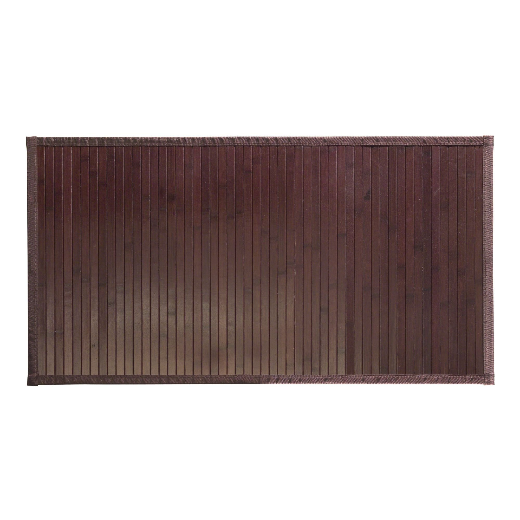 mDesign Modern Bamboo Wood Rectangular Floor Mat Rug - Fabric Trim, Non-Skid, Water Resistant - for Bathroom, Kitchen, Entryway - Easy Clean, Environmentally Friendly - Large - Pack of 2, Mocha Brown by mDesign (Image #6)