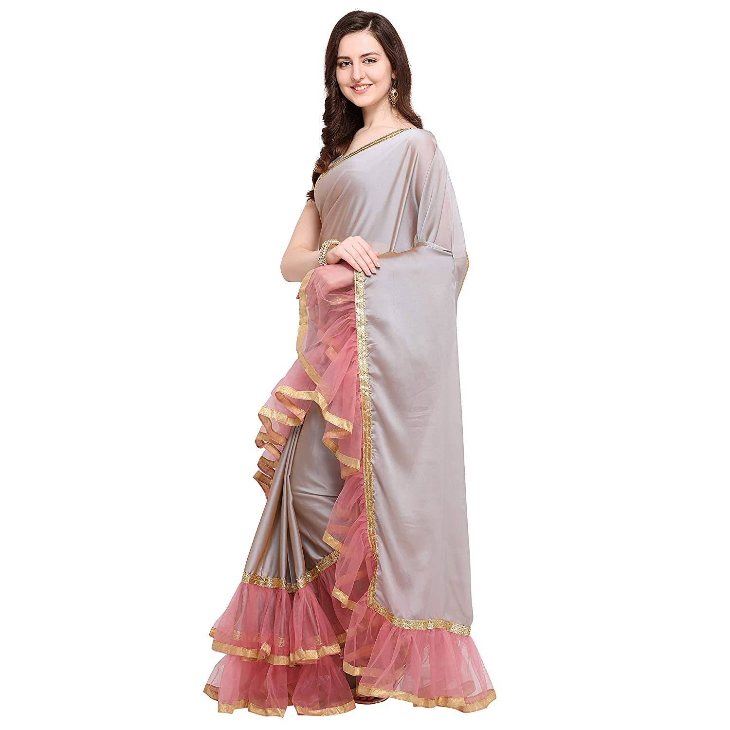 Best Crepe with Blouse Piece Saree For Festive wear