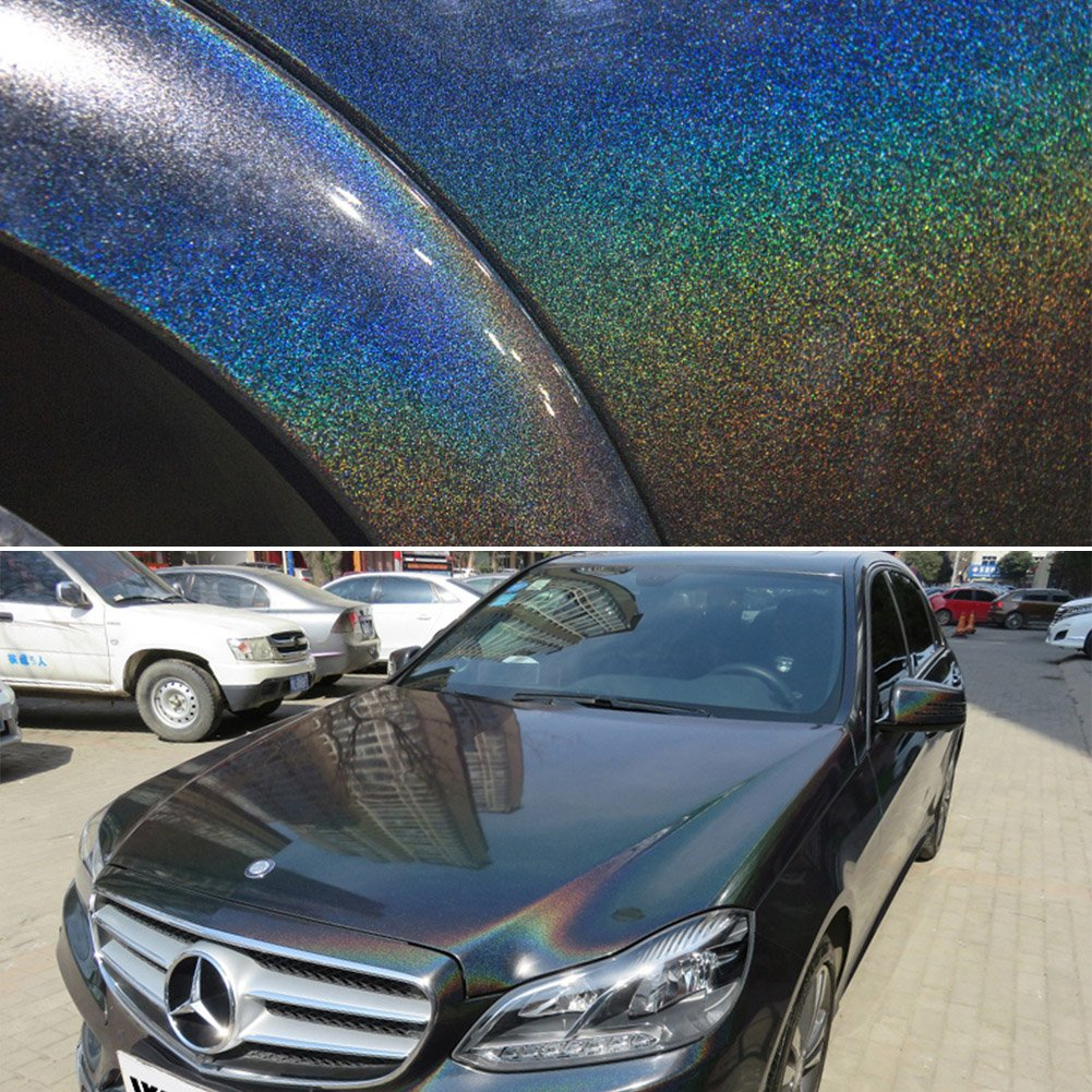 ATMOMO Colorful Laser Black Chameleon Vinyl Wrap Glossy Color Vehicle Film DIY Car Wrap Sticker Decal 1.52Mx60CM