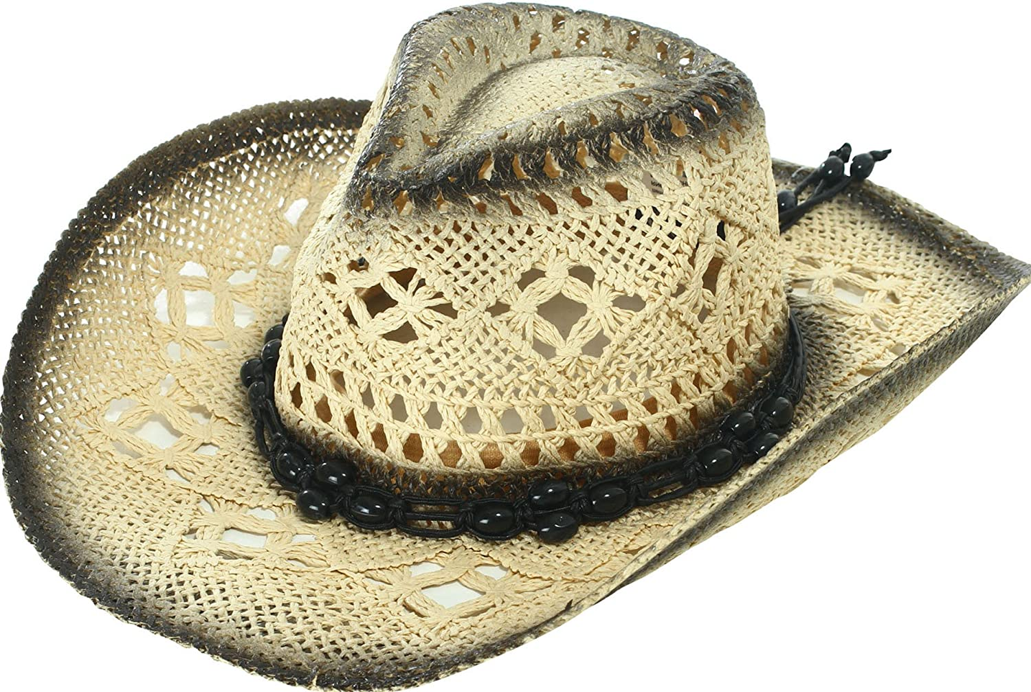 YoungLove Men and Women Sun Hat Costume Straw Cowboy Hat with Decors Beige_Blue Bead