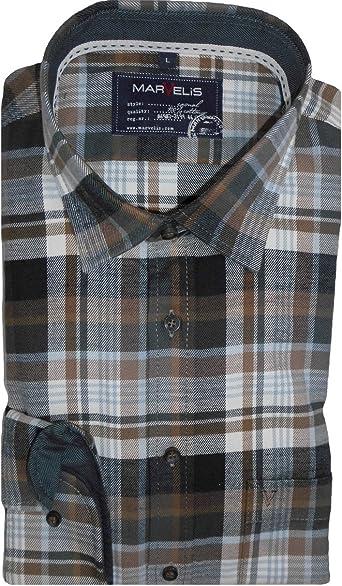 Marvelis Camisa Camisa Hombre Casual manga larga franela marrón/blanco cuadros 6058.64.28 multicolor 47/48: Amazon.es: Ropa y accesorios