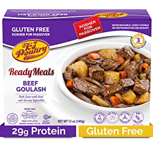 Kosher For Passover Food Beef Goulash - MRE Meat Meals Ready to Eat - Gluten Free (1 Pack) - Prepared Entree Fully Cooked, Shelf Stable Microwave Dinner