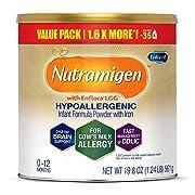 Enfamil Nutramigen Infant Formula with Enflora LGG - Hypoallergenic & Lactose-Free for Fast Colic Management - Powder Can, 19.8 oz