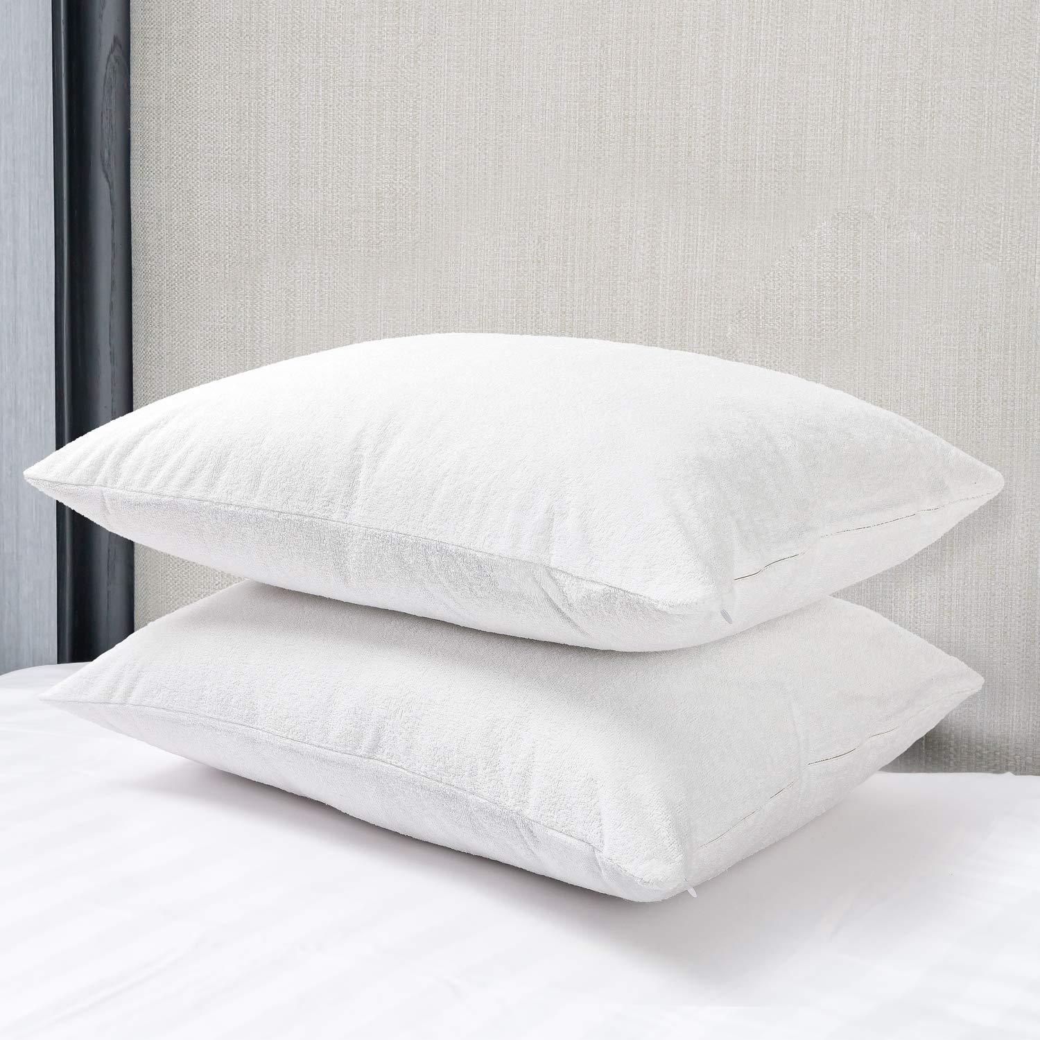 EXQ Home 100/% Waterproof Pillow Protectors Set of 2 Standard Size Zippered Bamboo Cooling Pillowcase Dust Mite Hypoallergenic Pillow Covers