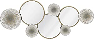 Wall Metal Decor with Multi Circle Plates Mirror Large Home Metal Art Wall Sculpture Decorated for Living Room, Office, Bedroom, 47.3 X 2.8X 19.7 Inches, White