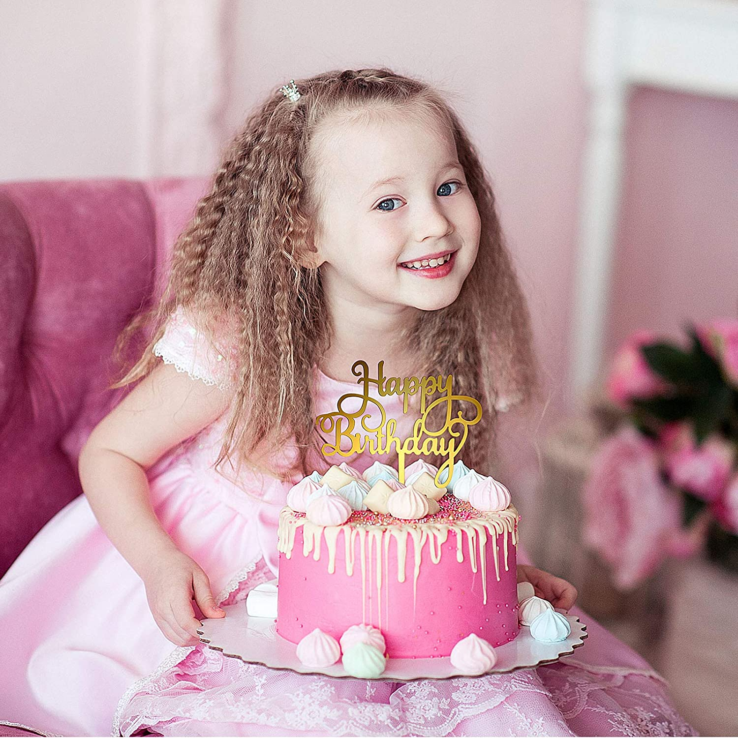 6 Styles 12 Pieces Happy Birthday Cake Topper Acrylic Gold Birthday Cupcake Topper Cake Pick Decorations for Birthday Party Cake Desserts Pastries