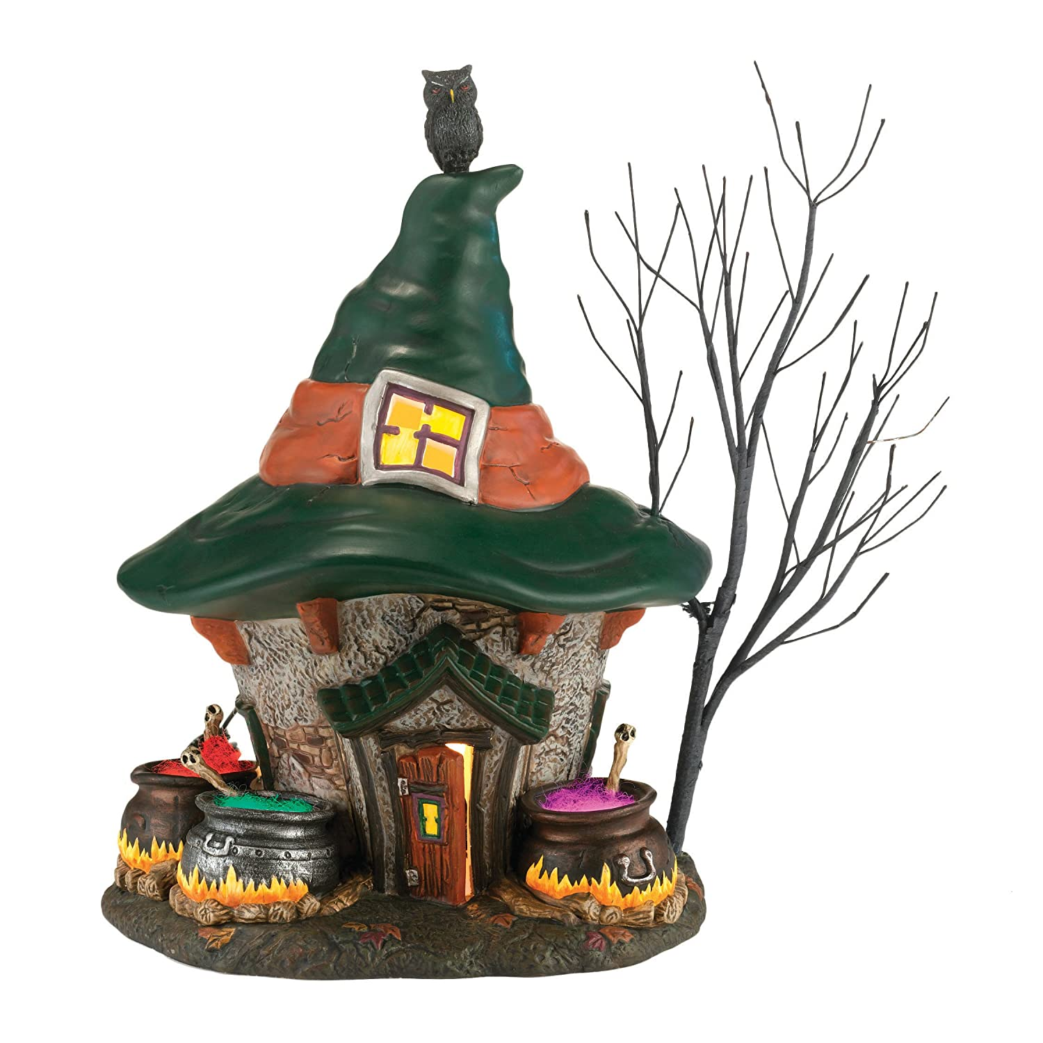 Department 56 Snow Village Halloween Three Witches Cauldron Haunt Lit House, 8.7 inch 4030758