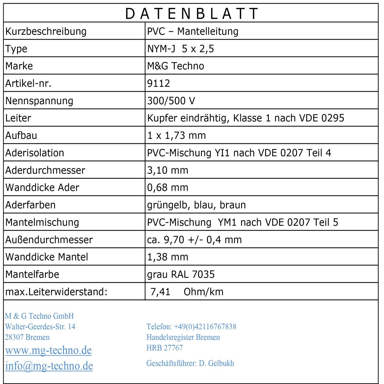 Relativ 100m NYM-J 5x2,5 mm² Mantelleitung Elektro Strom: Amazon.de LN19