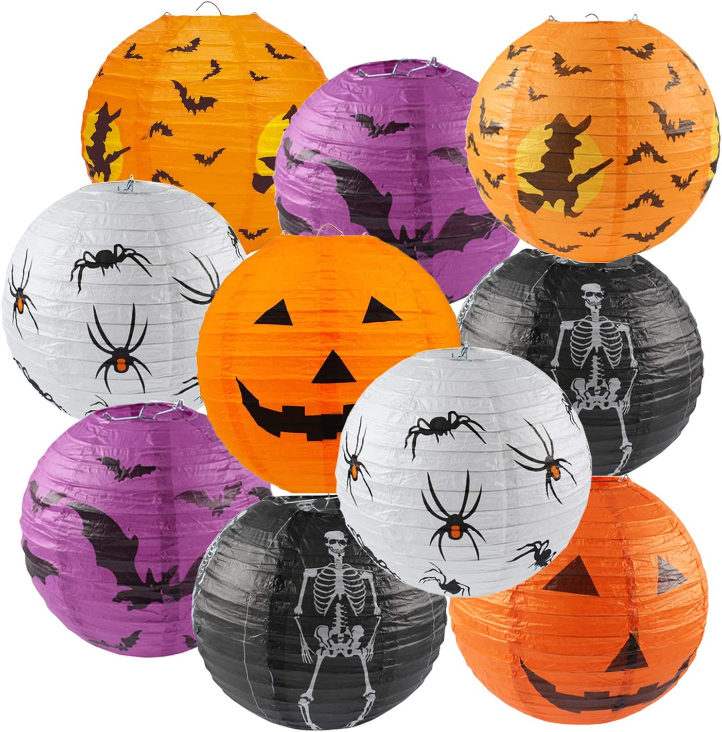 10PCS Halloween Paper Lanterns, Hanging Jack-O'-Lantern Spider Skeleton Pumpkin for Halloween Party Decor, Indoor & Outdoor Spooky Home Decor - 10 Inches