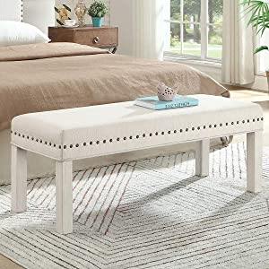 24KF Upholstered Linen Bed Bench with Nail Head Trim,Padded Tufted Bench -Ivory