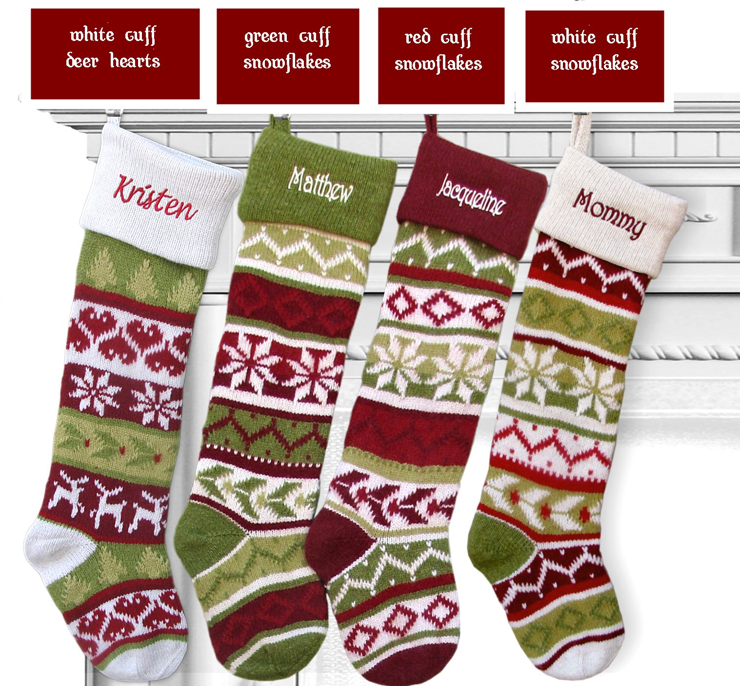 SET OF 4 Knit Christmas Stockings Fair Isle Design 28'' Personalized - CHOOSE YOUR DESIGNS - Embroidered with Your Names by CHRISTMAS-STOCKINGS-by-STOCKINGFACTORY (Image #2)