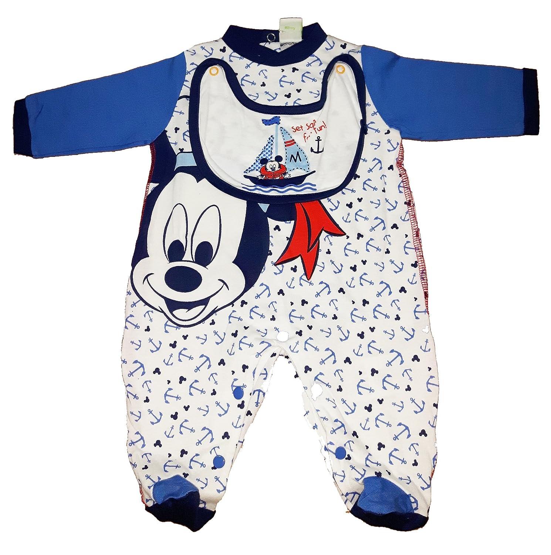 tutina neonato con bavaglino cotone manica lunga con piedini TOPOLINO mickey disney art. WD101067 (3-6 mesi, mare)
