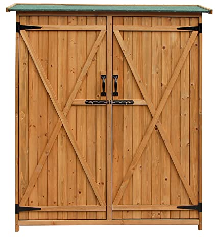 Merax Wood Shed Garden Storage Shed With Fir Wood (Natural Wood Color   Double  Door