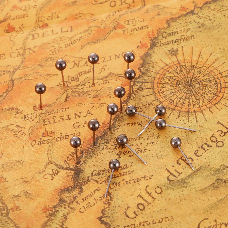 400 Pezzi eBoot Mappa Puntine da Disegno con 1//8 Pollice Testa e Punto in Acciaio Retro Nero Metallico