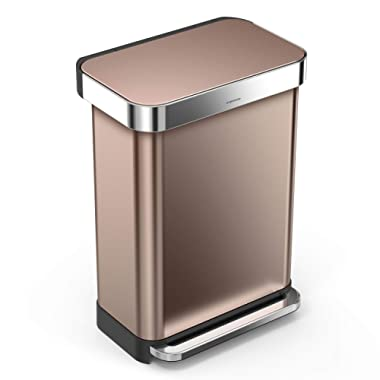 simplehuman 55 Liter / 14.5 Gallon Stainless Steel Rectangular Kitchen Step Trash Can with Liner Pocket, Rose Gold Stainless Steel