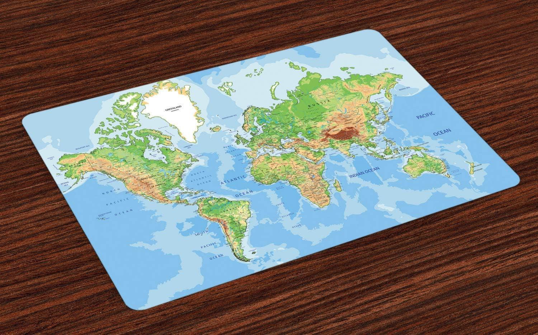 Esteras de mapa del mundo, mapa topográfico de los continentes del ...